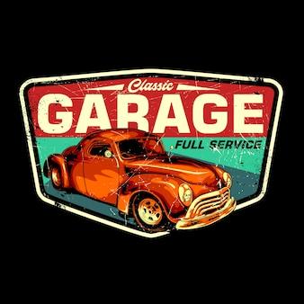 Klasyczny garaż retro bagde