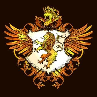 Klasyczny heraldyczny godło królewskie kolorowe ikony