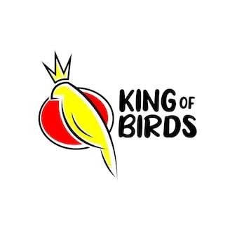 Klasyczny i zabawny ptak z koncepcją logo korony dla hobby i firm związanych ze społecznością zwierząt