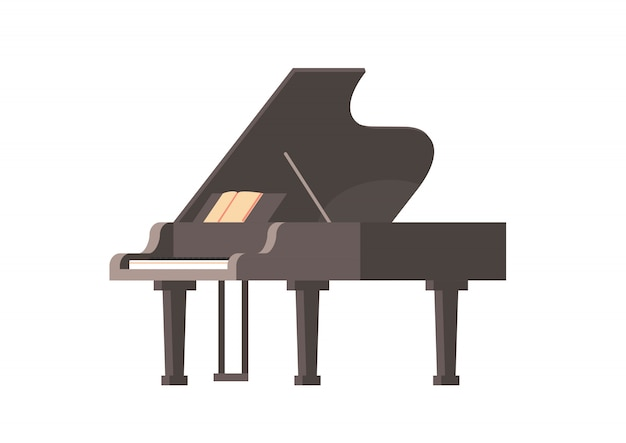 Klasyczny instrument muzyczny czarny fortepian na białym tle poziome płaskie