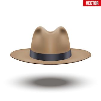 Klasyczny kapelusz męski. kolor brązowy z czarną wstążką. akcesoria dla urody stylowego mężczyzny i panów. ilustracja na białym tle.