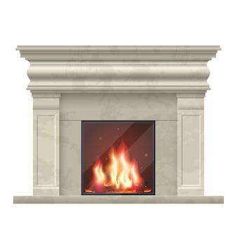 Klasyczny kominek do wnętrza salonu. kominek do wnętrza domu, ilustracja komfortowy kominek