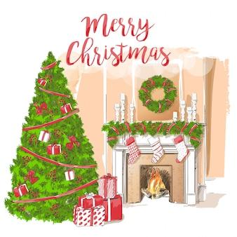 Klasyczny kominek z dekoracją świąteczną