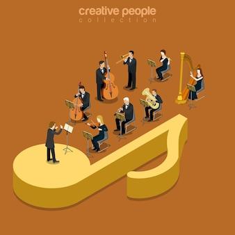 Klasyczny koncert orkiestry instrumentalnej płaski pokaz muzyczny izometryczny