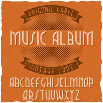 Klasyczny krój pisma o nazwie album muzyczny.