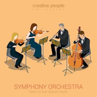 Klasyczny kwartet smyczkowy orkiestry symfonicznej ludzie grający na wiolonczeli skrzypce instrumenty klarnetowe płaskie izometryczny.