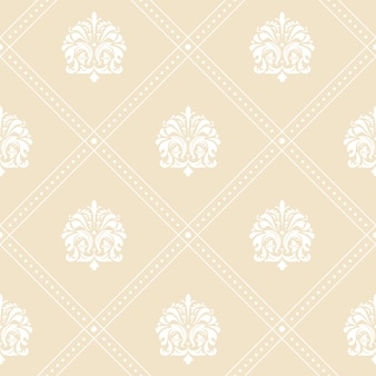 Klasyczny kwiatowy wzór tła tapety w kolorze białym i beżowym