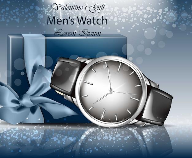 Klasyczny mężczyzna zegarka i prezenta pudełka realistyczny wektor. 3d szczegółowy makiety. niebieskie tła