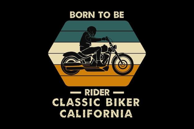Klasyczny motocyklista w kalifornii, projekt w stylu retro muł