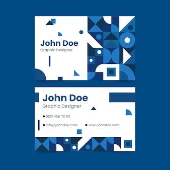 Klasyczny niebieski kształt wizytówki szablon