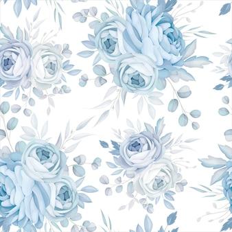 Klasyczny niebieski kwiatowy wzór bez szwu