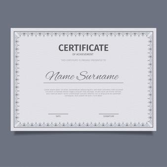 Klasyczny niebieski wzór szablonu certyfikatu