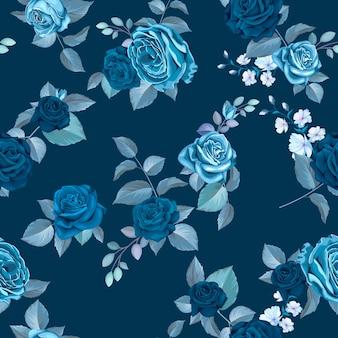 Klasyczny niebieski wzór z kwiatami
