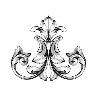 Klasyczny ornament barokowy. ozdobny element dekoracyjny z filigranu.