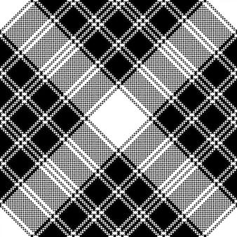 Klasyczny piksel plaid czarno biały wzór