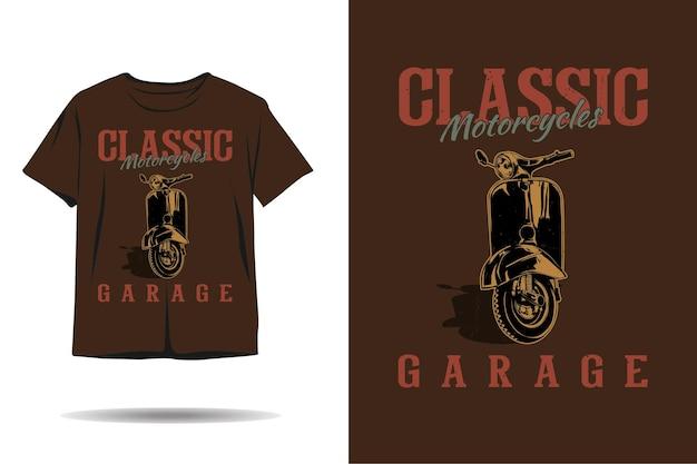 Klasyczny projekt koszulki z sylwetką garażu motocyklowego