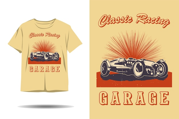 Klasyczny projekt koszulki z sylwetką garażu wyścigowego