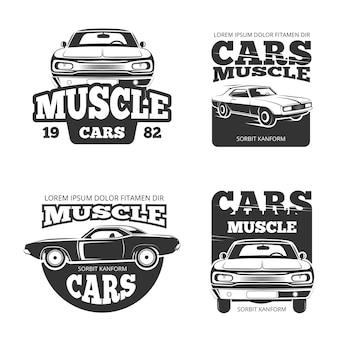 Klasyczny rocznik samochodu mięśni. szablon etykiety, logo, emblematy, odznaki do garażu