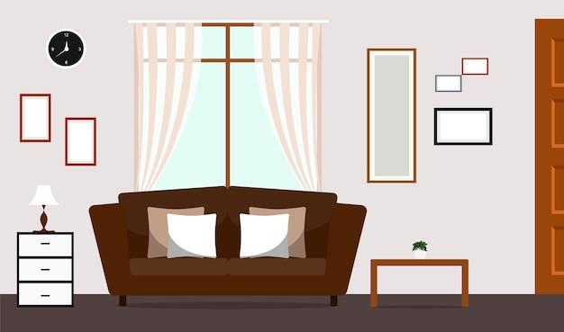 Klasyczny salon z sofą brown wnętrza
