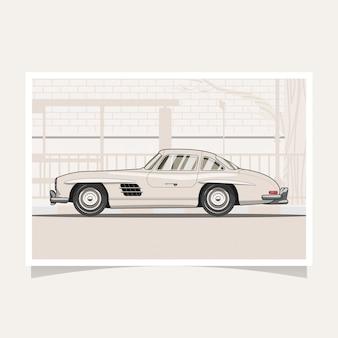Klasyczny samochód koncepcyjny projekt płaski wektor