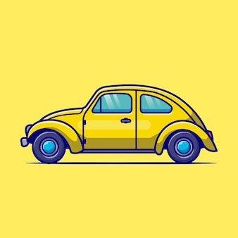 Klasyczny samochód kreskówka. transport na białym tle.