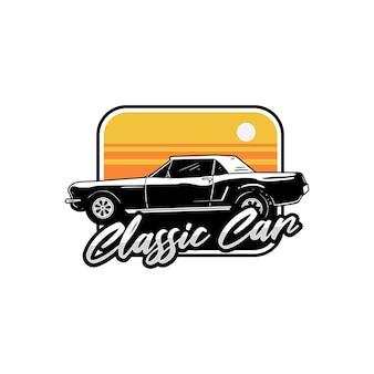 Klasyczny samochód logo projekt retro vintage t shirt