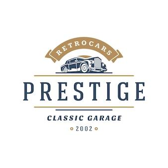 Klasyczny samochód logo szablon projektu elementu stylu vintage
