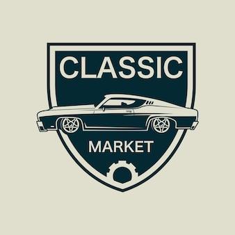 Klasyczny samochód logo z tarcza szablon wektor