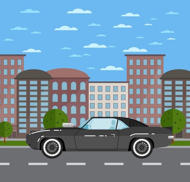 Klasyczny samochód mięśni w krajobrazie miejskim