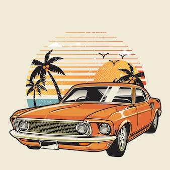 Klasyczny samochód na plaży