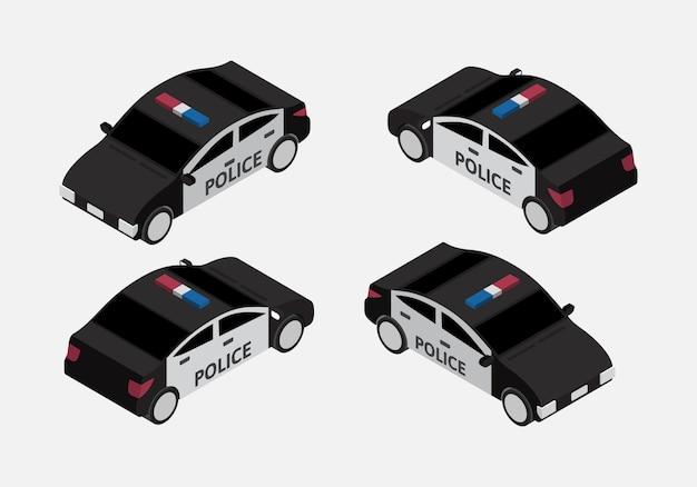 Klasyczny samochód policyjny zestaw izometryczny wektor
