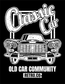 Klasyczny samochód, styl vintage, plakaty, koszulki i produkty z nadrukiem.