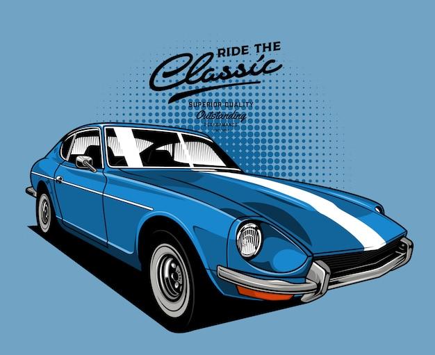 Klasyczny samochód w kolorze niebieskim