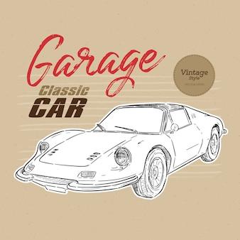 Klasyczny samochód w stylu vintage ręcznie rysować szkic