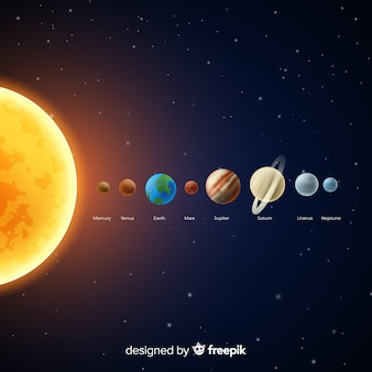 Klasyczny schemat układu słonecznego o realistycznym designie
