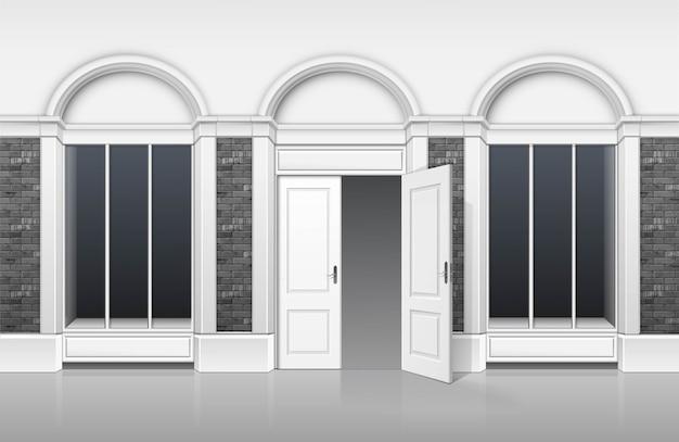 Klasyczny sklep, butik, budynek sklep z przodu ze szklanymi oknami, otwarte drzwi i miejsce na imię na białym tle