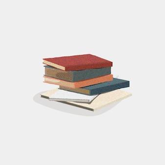 Klasyczny stos książek na białym tle