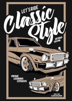 Klasyczny styl, super klasyczna ilustracja samochodu
