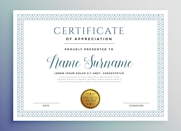 Klasyczny szablon nagrody certyfikatu