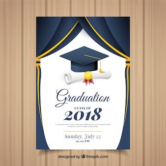 Klasyczny szablon zaproszenie ukończenia szkoły z Płaska konstrukcja