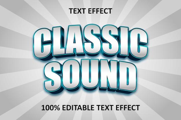 Klasyczny tekst edytowalny efekt tekstowy niebieski cyjan srebrny
