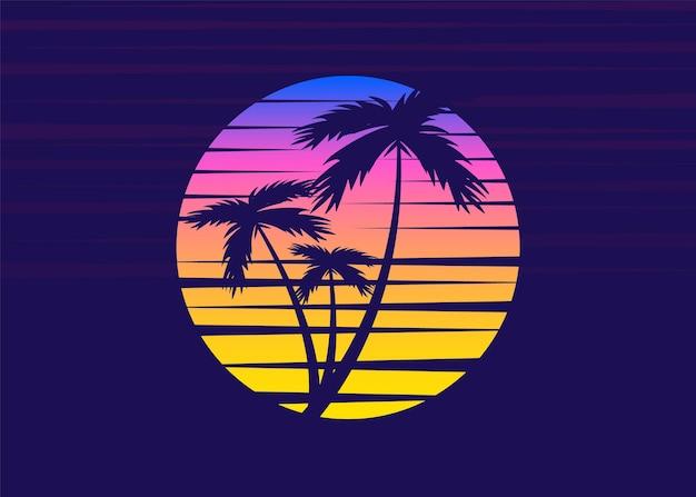 Klasyczny tropikalny zachód słońca w stylu retro z palmą