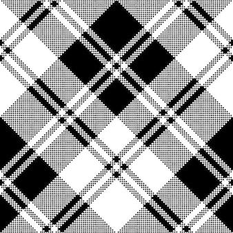 Klasyczny wzór w kratę czarny biały piksel