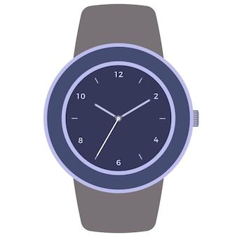 Klasyczny zegarek mechaniczny na białym tle. tarcza zegara ze wskazówkami godzinowymi, minutowymi i sekundowymi. ilustracja wektorowa.