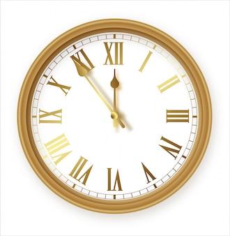Klasyczny zestaw ikon ze złotym zegarem biurowym na ścianie rzymskiej. zbliżenie szablonu projektu. dla marki i reklamy na białym tle.