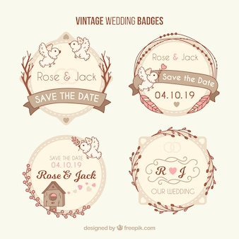 Klasyczny zestaw odznak rocznika ślubu