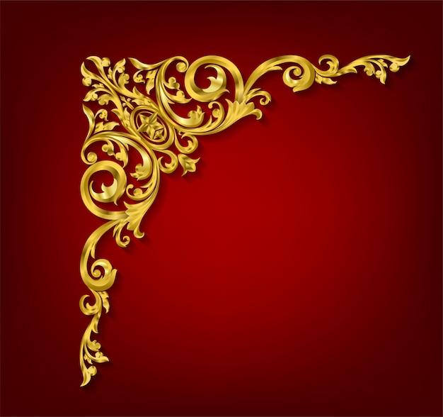 Klasyczny złoty element dekoracyjny w stylu barokowym