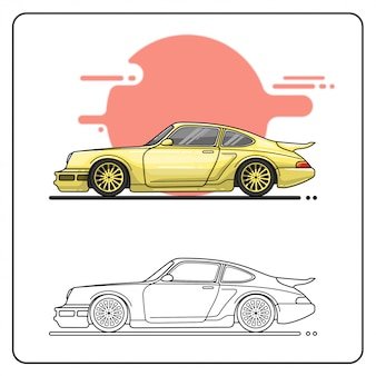 Klasyczny żółty samochód