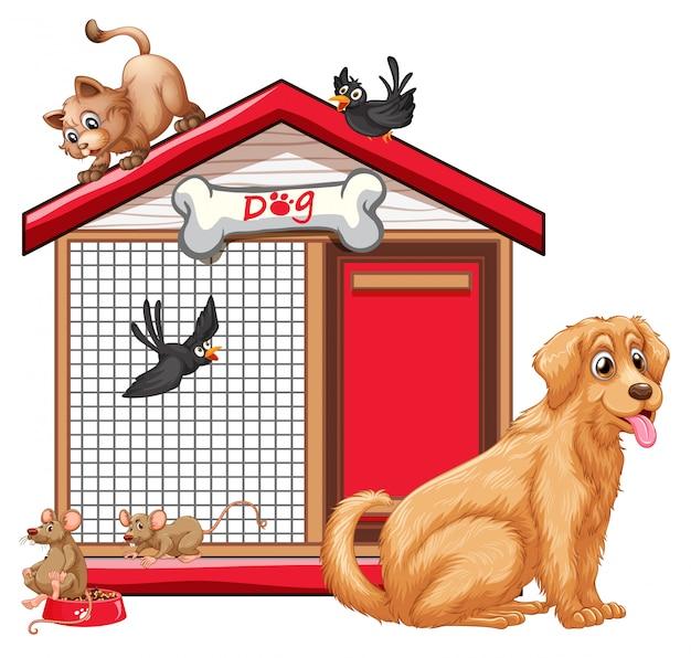 Klatka dla psa z kreskówki grupy zwierząt na białym tle
