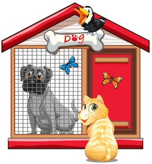 Klatka dla psa z pies, kot i ptak kreskówka na białym tle